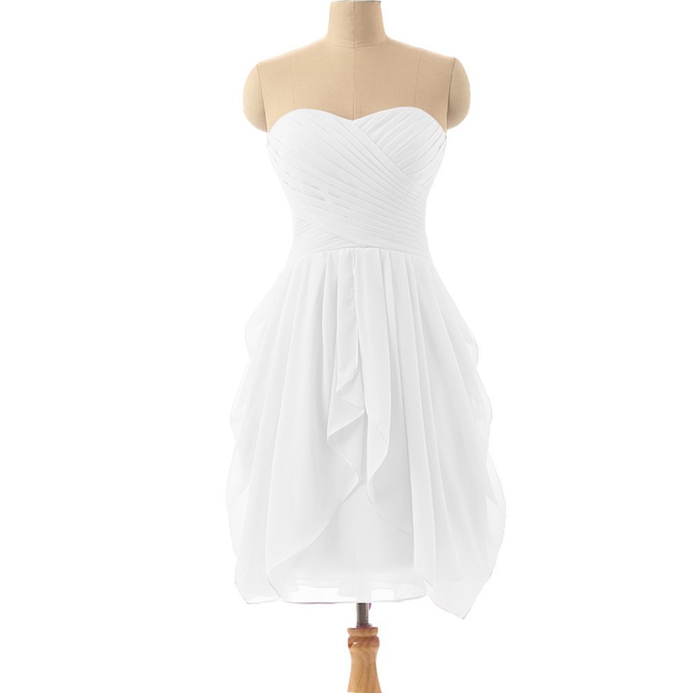 Kivary Sweetheart Chiffon Knee Length Criss Cross Short Corset Beach Bridesmaid