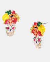 Betsey Johnson RIO Pink Sugar Skeleton Skulls Fruit Hat Post Stud Earrin... - $120.77