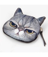 "GRUMPY CAT COIN PURSE 4"" Grey Kitty Small Change Wallet Pouch Bag Zipper... - $7.95"