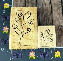 Stampin' Up! Two Tree Leaves Set Of Two Rubber Stamp 2003 Outline Drawn #H19 - $3.22