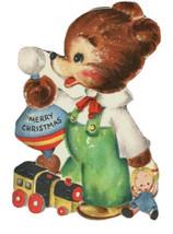 Vtg Hallmark Die Cut Anthropomorphic Bear Vintage Toys Christmas Card Hall Bros - $14.84