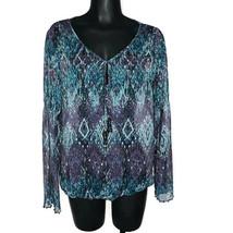 Womens Size XL Abstract Print Beaded Sheer Top Long Sleeve Purple Teal B... - $15.82