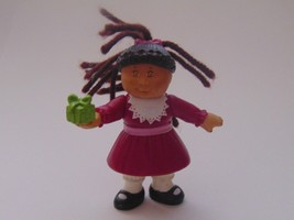 Cabbage Kids Mini Figurine Doll Holding Present Ponytail-Vintage 1992-25 years - $10.88