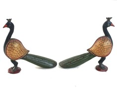 Peacock Pair Pieces Handcrafted Wooden Decorative Home Decor Vintage US665WH image 2