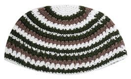 Handmade Frik Kippah Yarmulke Yamaka Crochet Colorful Olive Striped Israel 21 cm