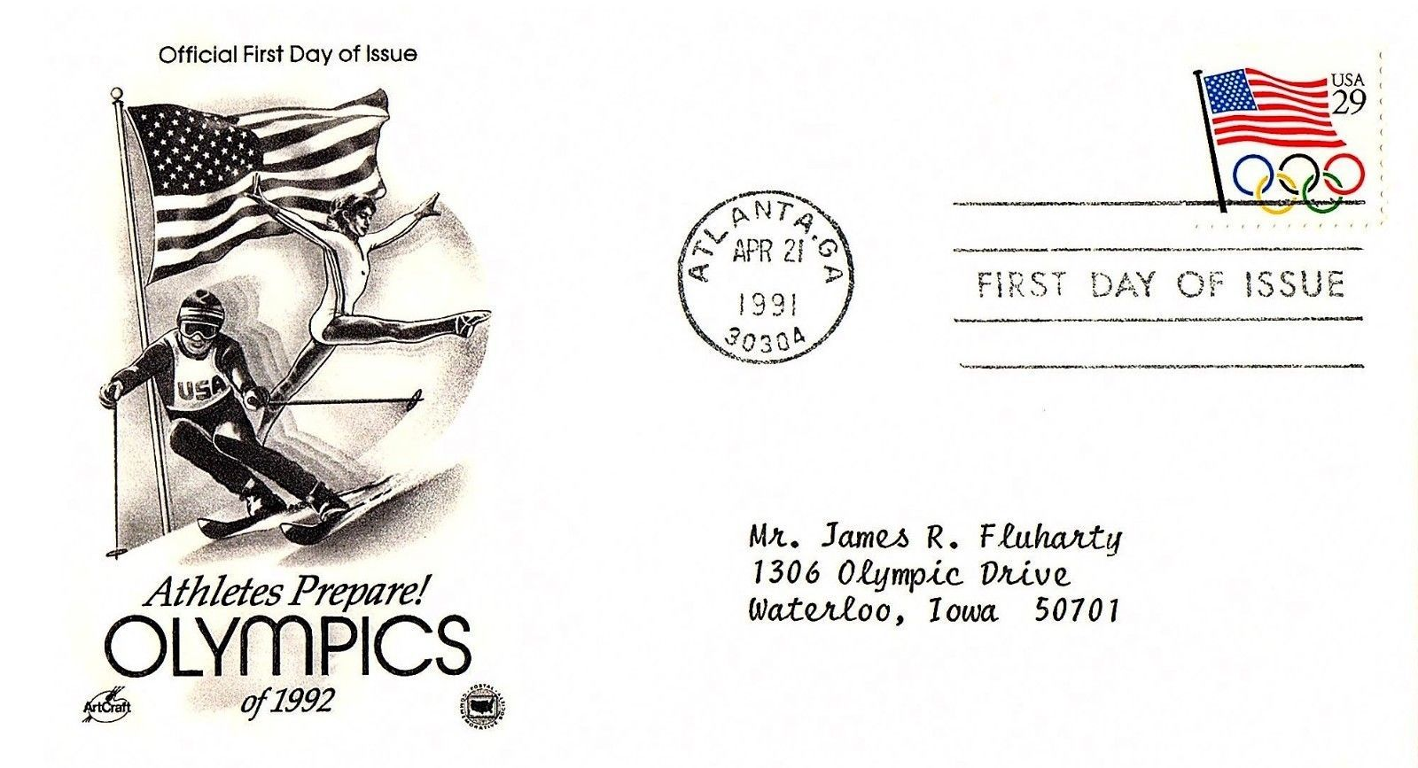 April 21, 1991 First Day of Issue, Postal Society Cover, Olympic Flag Athletes