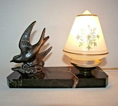 French Art Deco Swallow Black Marble Base Lamp Decorative Cone Glass Sh... - $64.82