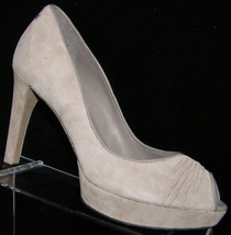 Rockport 'Janae Rouched' gray leather peep toe slip on platform heel 8M ... - $35.21