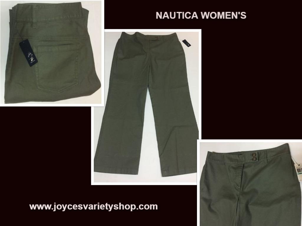 Nautica womens 16 green pants web collage