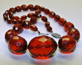 c1915 Antique Edwardian Cherry Amber Bakelite Faceted Bead Necklace 925 ... - $83.00