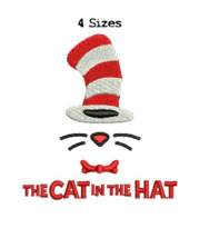 Cat in the Hat Dr Seuss digitized filled embroidery design Digital Download - $4.50