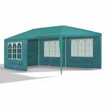 JOM Gartenpavillon 3 x 6 m, mit 6 Seitenwänden 110G PE, petrol grün - $141.24