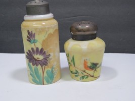 2 Antique Mt Mount Washington Yellow Art Glass Painted Floral Shakers Mo... - $47.52