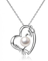 Love Heart Pendant 7-8 mm Freshwater Cultured Pearl Necklace Sterling Si... - $73.41