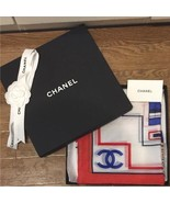 "CHANEL Scarf Stole Cotton Silk Woman Luxury Auth New Unused Rare 36"" NWIB - $443.81"