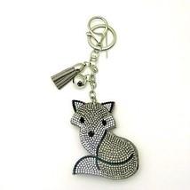 Fashion Faux Grey Leather Fox Keychain with Rhinestones - $24.30