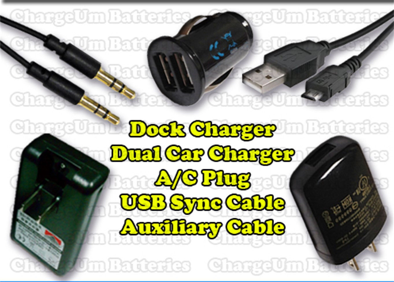 Samsung Galaxy Note 2 1605 External + Car Charger +  Plug + Auxiliary & USB Cord