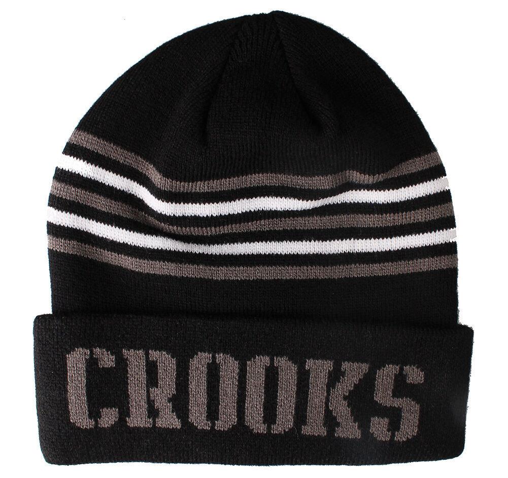 Crooks Et Castles Hommes Coeur Rayé Bonnet Tricot Nwt