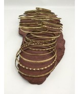 26 Gold Tone Bracelets Wire Type Assorted Shapes Designs Fashion Lot - $19.59