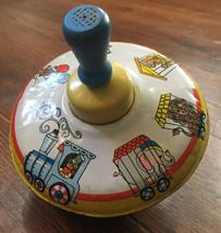 Vintage Ohio Art Tin Litho Spinning Top Circus Zoo Animals Wood Handle - $24.75