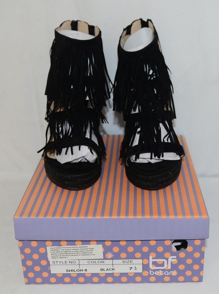 BF Betani Shiloh 8 Black Fringe Wedge Heel Sandals Size 7 And Half