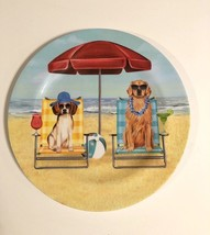 "Melamine Dinner Plates 10.25"" Dogs Dog at the Beach Umbrella Chairs Set ... - $31.08"