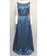BCBG Max Azria Prom Dress Sexy Tie Back Blue Satin Maxi Bridesmaid Women... - $54.45