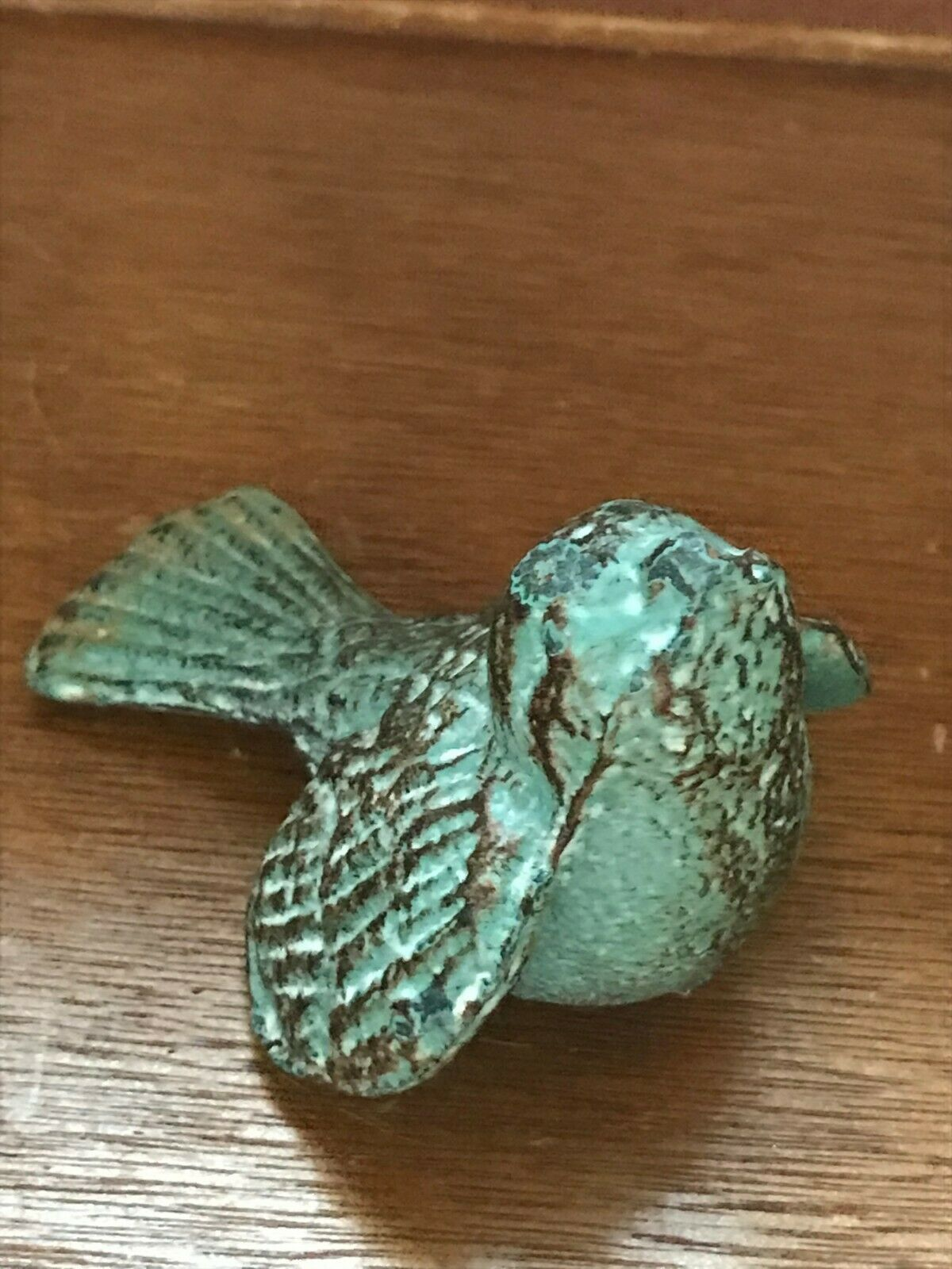 Estate Small Green & Brown Rustic Metal Bird Birdie Figurine  – 2.25 inches tall image 2