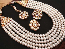 High quality Handmade Designer Kundan Pearl Necklace Set - $52.00