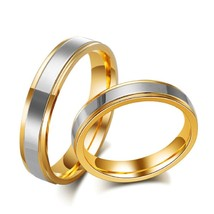2PCS Gold Plated Stainless Steel Couple Ring Promise Engagement Wedding ... - $362,43 MXN