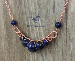 Handmade lapis lazuli necklace: criss cross copper wire wrapped image 3