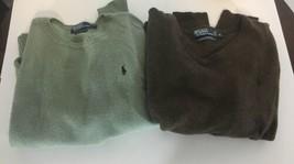 (Lot of 2) Ralph Lauren Sweaters Lambs Wool Italian Yarn Khaki & Brown M... - $41.80