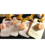 Tags ~Set of 3+1 Free~ scripture stamped~ with flower center pearl,or pu... - $6.99