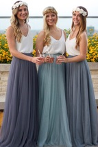 Gray Maxi Skirt Full Long Maxi Tulle Skirt Gray Wedding Bridesmaid Tulle Skirts