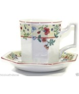 4 Johnson Brothers Heritage Enchantment  Cup and Saucer Florals Red Trim - $31.04
