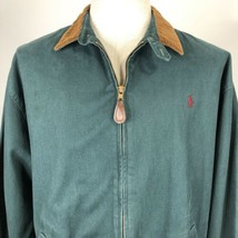 Vintage Polo Ralph Lauren Green Denim Jacket Zip Front Large Corduroy Co... - $89.05