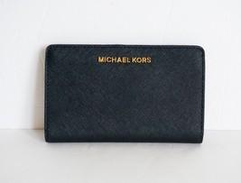 581e385c5638fc NWT MICHAEL KORS JET SET TRAVEL SAFFIANO LEATHER SLIM BIFOLD WALLET BLACK -  £44.41 GBP
