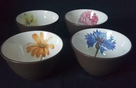 Noritake set of 4 Brown Floral Mini Bowls Magnolia Hydrangea Corn Flower Daisy - $19.00