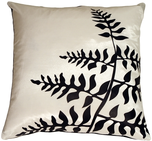Pillow Decor - White with Black Bold Fern Throw Pillow