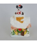 Vintage Schmid Mickey Mouse Christmas House Animated Music Box Rare  - $93.49