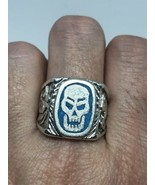 Men's Skull Ring Biker Vintage Genuine Turquoise Silver Bronze Size 11.5 - $28.01