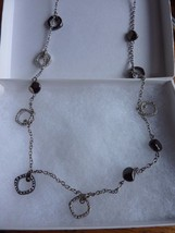 Ann Taylor Loft Necklace Long Strand Black Silver tone Rhinestone Crystal - $9.75