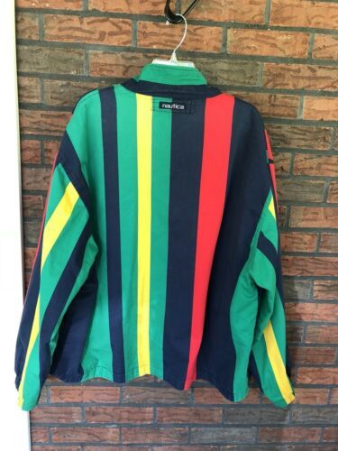 Nautica Reversible Jacket XL Red Striped Lightweight Coat Sailing Boat Vintage image 6