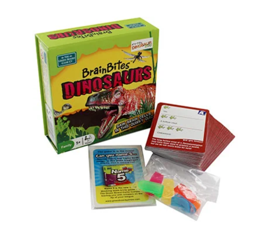 Primary image for BrainBites Dinosaurs Knowledge Memory Game Question Score Cards Quirky Quiz 5+