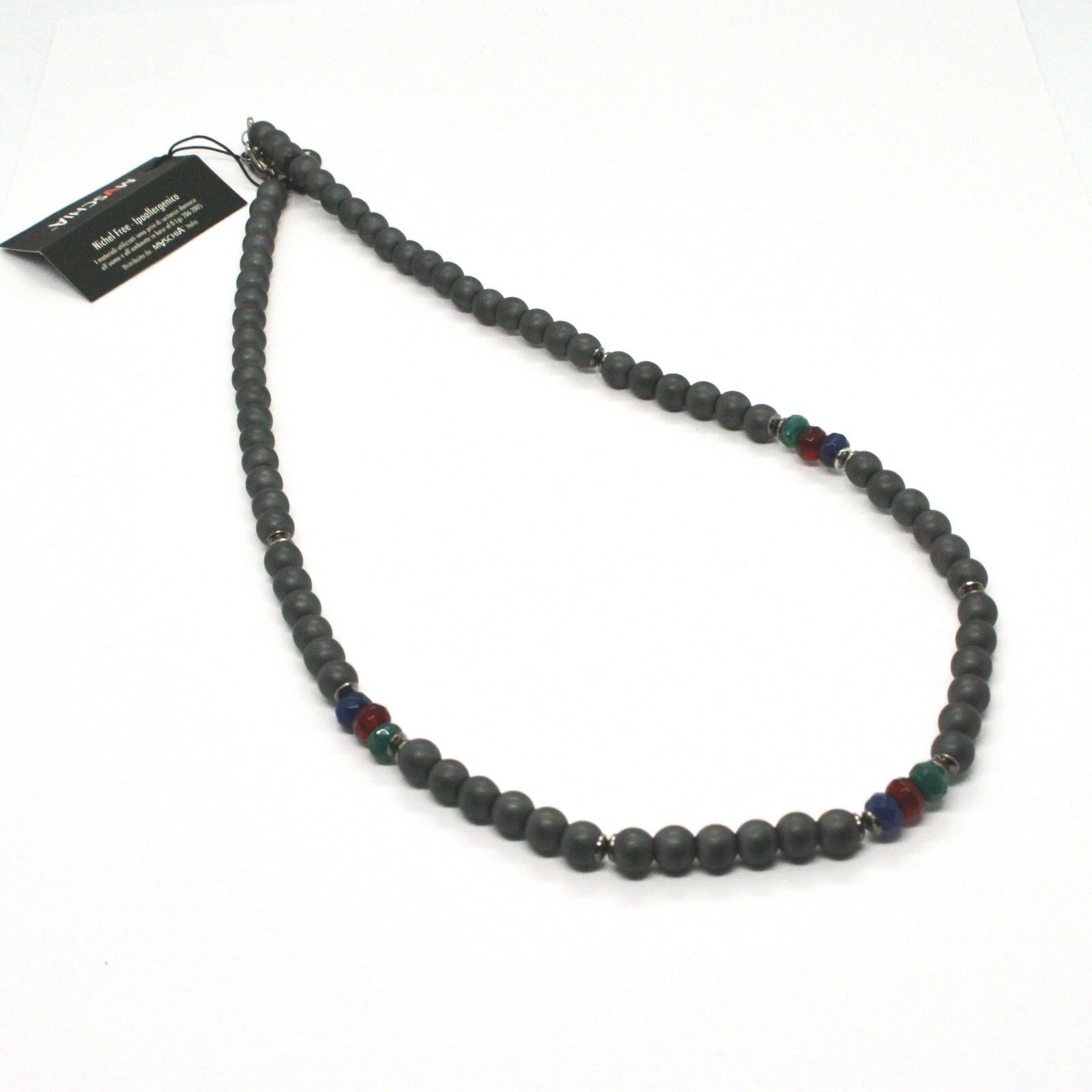 Silver Necklace 925 Burnished with Hematite and Agate Made in Italy by Maschia
