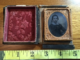 Ambrotype Spooky Looking Lady Nice Brass Frame & Mat 1860's! - $35.00