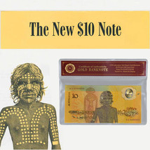 WR Australia 1988 $10 Bicentennial Color Gold Banknote Commemorative Not... - $3.31