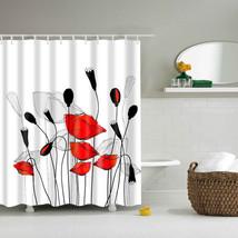 Papa&Mima Lotus printed Waterproof Shower Curtains Polyester Bathroom Curtains W - $31.90