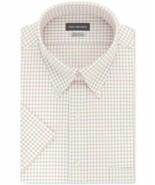 Van Heusen Men's Classic-Fit Check Short Sleeve Dress Shirt Oxford Colla... - $19.75