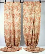 Pottery Barn Burnt Orange Linen Cotton Floral Black Out Curtains Drapes ... - $69.29